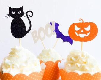 Halloween Decor - Halloween Party - Halloween Cupcake Toppers - Glitter Cupcake Toppers - Halloween Cupcake Picks - Kids Halloween Party