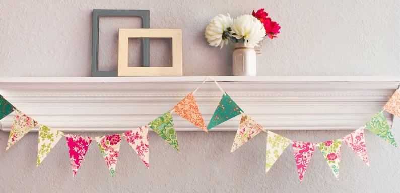 English Garden Floral Bridal Shower Paper Bunting Garden Party Vintage Party Decor Pennant Banner Tea Party