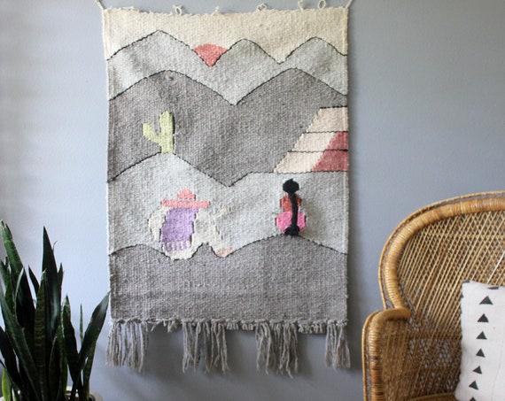 SALE! Vintage Southwest Wool Wall Weaving Mayan Desert Scene
