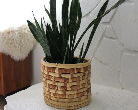 Large Woven Grass Coil Planter Basket Bin
