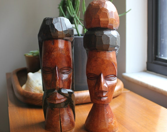 Tribal Sculpture Carvings of Man and Woman Boho Folk Art Decor