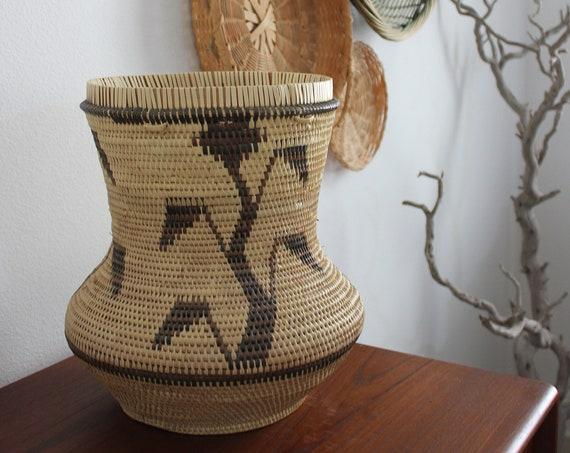 Vintage Woven Vessel Vase Planter Basket