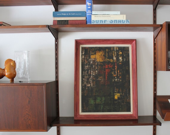 Mid Century Abstract Art Painting on Wood Framed