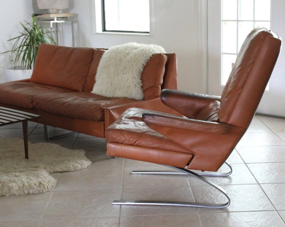 Leather 'Swing' Lounge Chair by Reinhold Adolf for COR Mid Century Modern Design