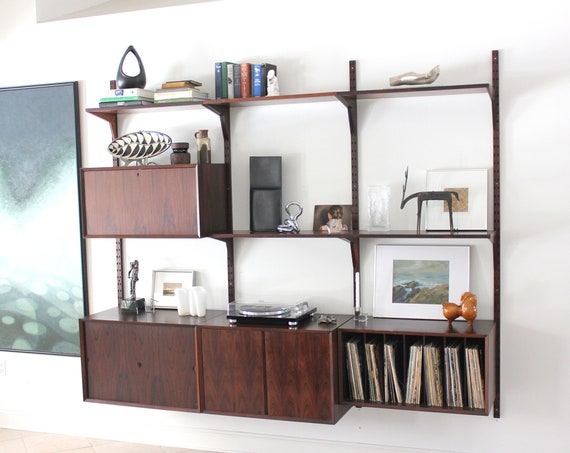 3 Bay Rosewood System Cado Wall Unit Danish Mid Century Modular Shelving System
