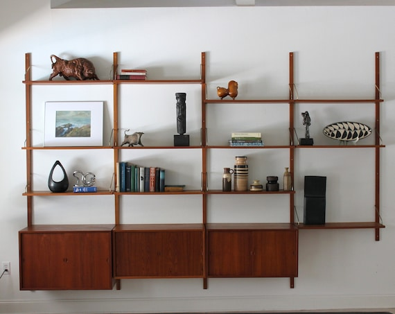 Danish Teak Cado 4 Bay Wall Unit Modular Shelving System