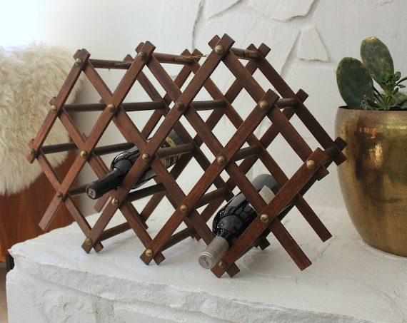 Vintage Wood and Brass Folding Wine Rack