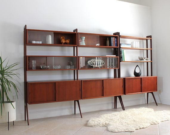 Freestanding Multi Bay Teak Wall Unit / Room Divider by Kurt Ostervig for KP Mobler