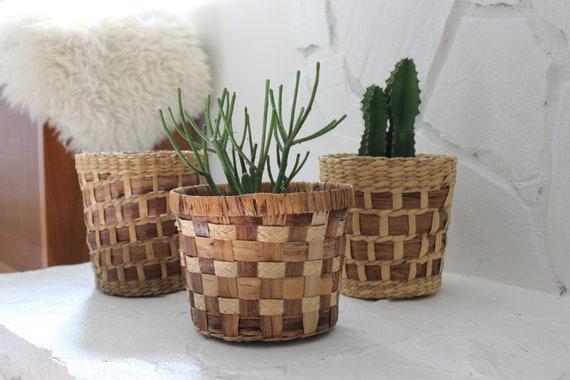 Vintage Woven Rattan Basket Planters