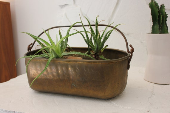 Vintage Brass Trough Bread Trough Farmhouse Centerpiece