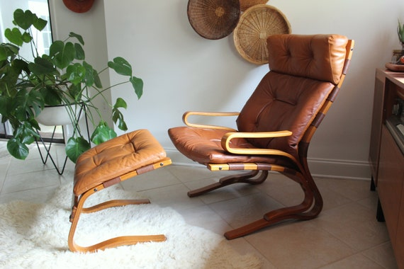 Norwegian Leather Highback Lounge Chair and Ottoman