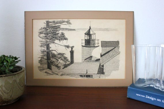 Vintage Original Ink Line Landscape Drawing of Lake Lighthouse Signed and Matted