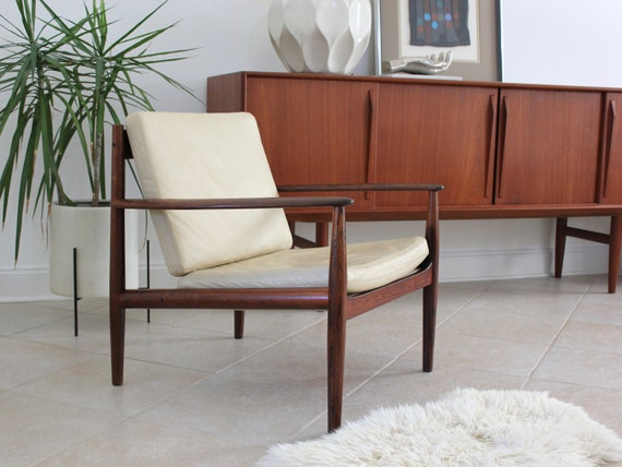 Danish Rosewood and Leather Lounge Chair by Grete Jalk for Cado