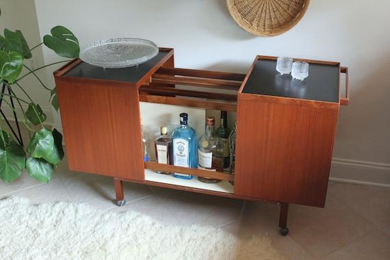 Expandable Mid Century Danish Teak Rolling Bar Cabinet