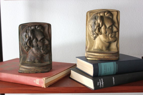 Old Metal Abe Lincoln Bookends Gold and Bronze Tone