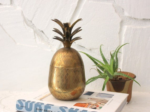 Vintage Hollywood Regency Brass Pineapple Container
