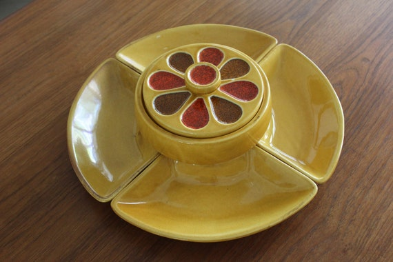 Mid Century Mod Calif. Pottery Condiment Server