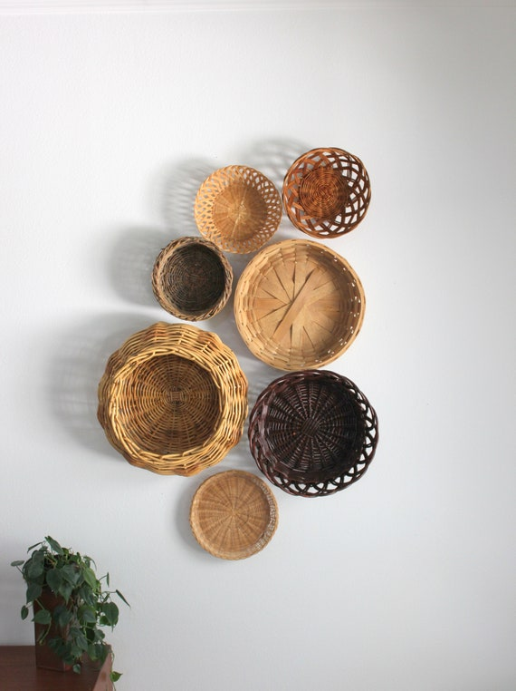 Beautiful Bohemian Basket Grouping Set of 7 Rattan Woven Wall Art