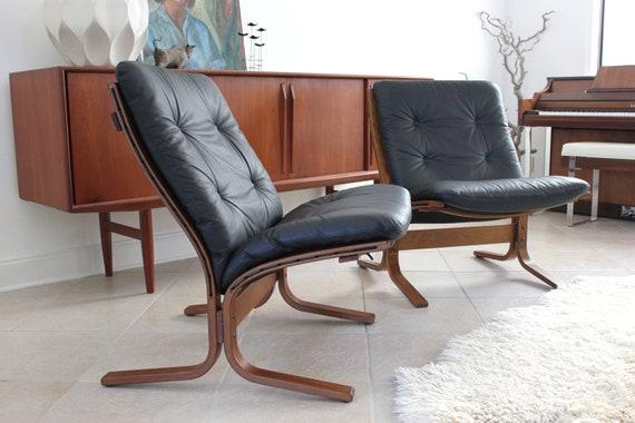 Pair Westnofa Vestlandske Leather Siesta Chairs by Ingmar Relling