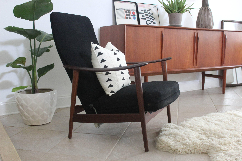 Mid Century Modern Scandinavian High Back Lounge Chair Recliner By Arnt  Lande