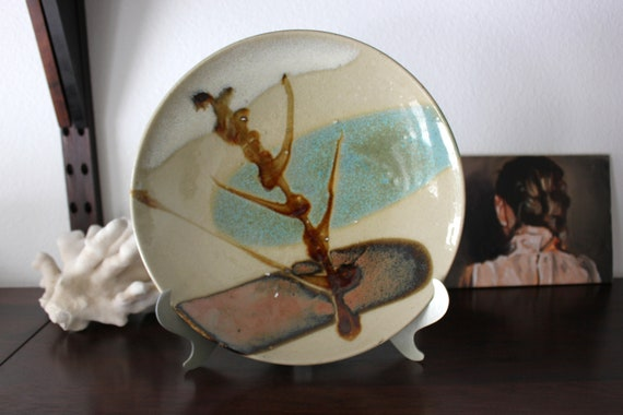 Abstract Glazed Pottery Dish