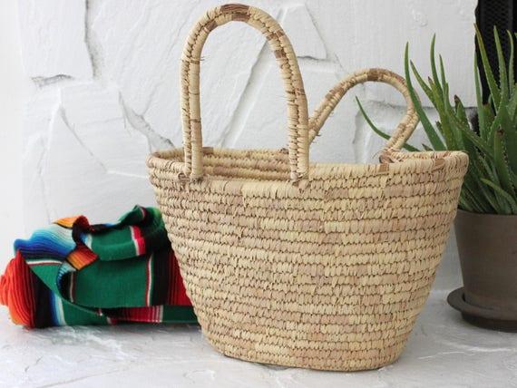 Vintage Woven Grass Storage Basket Magazine Holder