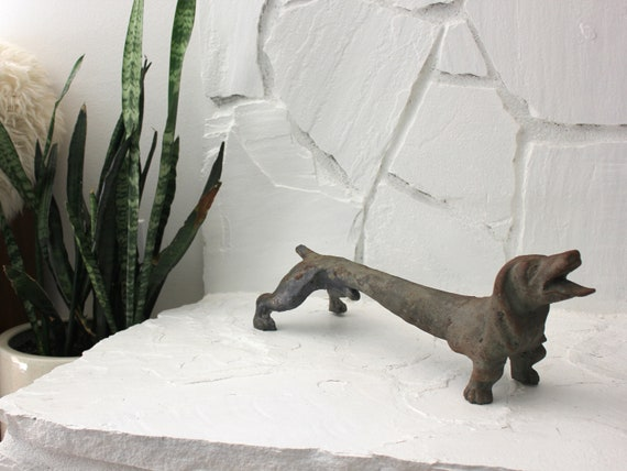 Old Iron Dachshund Dog Sculpture