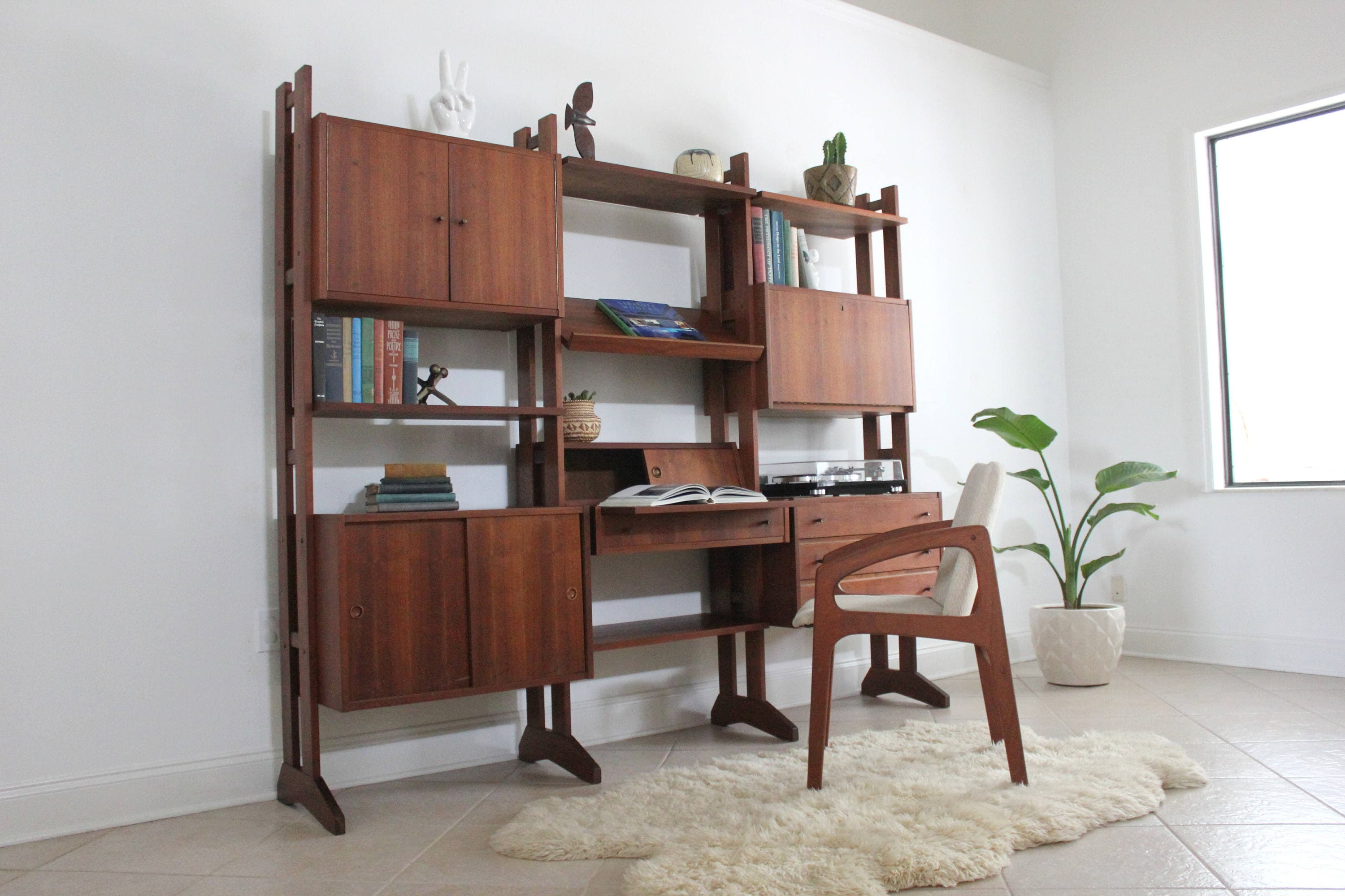 Image of: Sold Do Not Purchase Mid Century Modern Freestanding Wall Unit Shelving System Room Divider