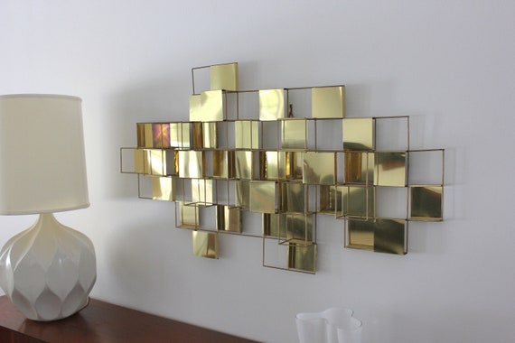 Large Mid Century Brass Geometric Wall Art Sculpture