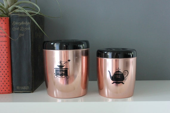 Retro Coffee and Tea Kitchen Canister Set by West Bend Made in USA