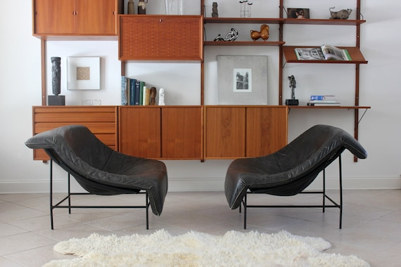 Pair of Vintage Gerard Van Den Berg Butterfly Chairs Black Leather Loungers
