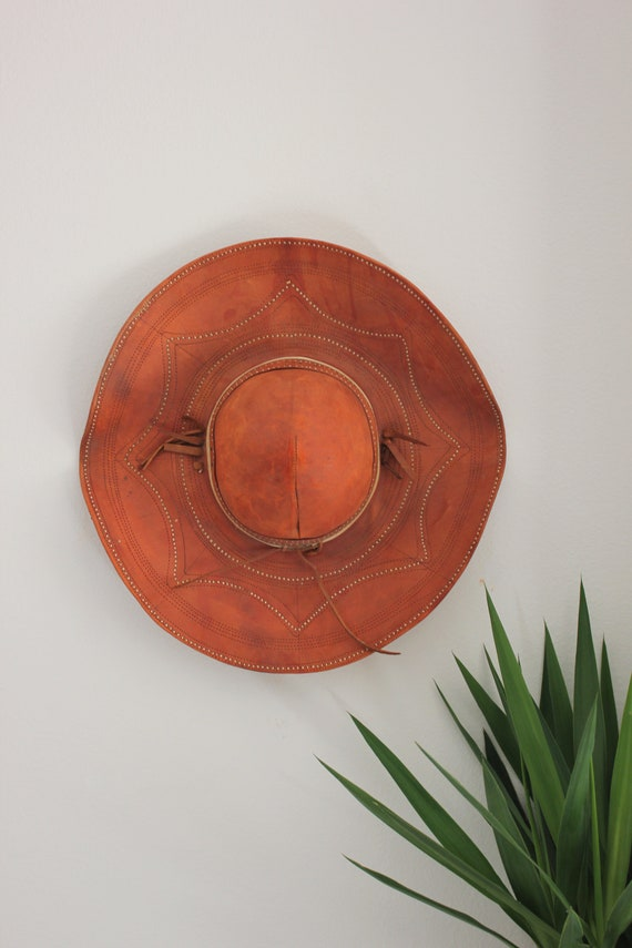 Vintage Bohemian Wall Decor 70's Leather Hat Sombrero