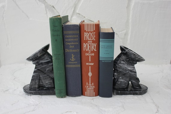 Pair of Black Marble Alabaster Siesta Bookends