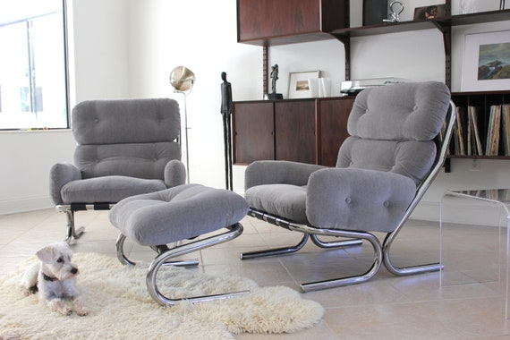 Milo Baughman Style Mid Century Modern Upholstered Chrome Chairs
