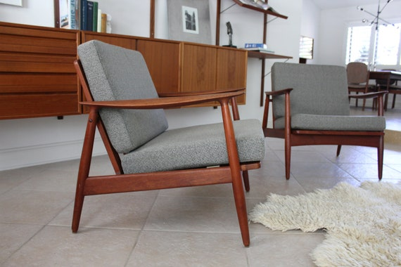 Pair Danish Teak Arne Vodder Style Lounge Chair Set