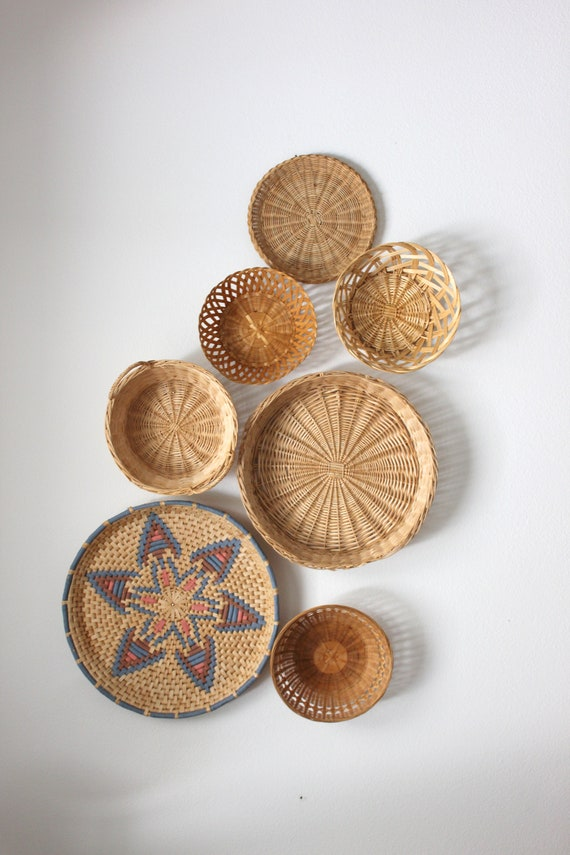 Beautiful Bohemian Basket Grouping Set of 7 Rattan Woven Wall Art