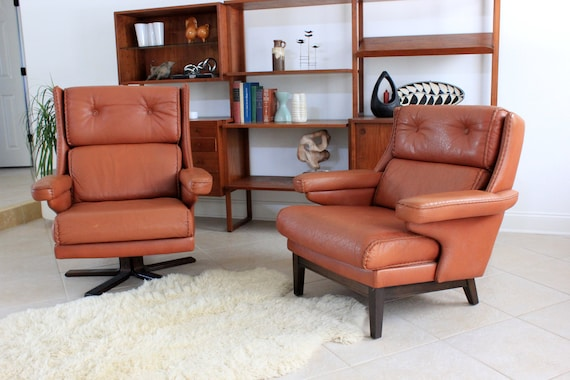 SALE! Mid Century Modern Leather His or Hers Lounge Chairs