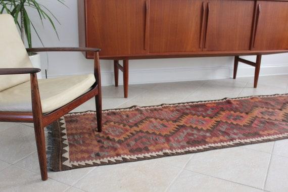 ON SALE! Vintage Bohemian Kilim Runner Hallway Rug