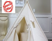 Original Canvas Teepee Package with Poles,Floor, Window, Pocket, LED Light,Flags Banner, Storage Bag, kids Room Decor