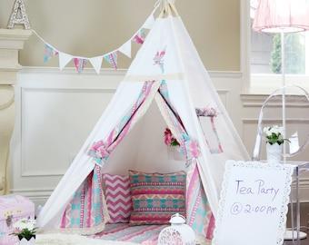 Alice Teepee Package With Poles Floor Flags Lights,Kids Teepee, Play Tent,  Childrens Teepee, Tipi, Playhouse, Girl Teepee,Kids Room Decor