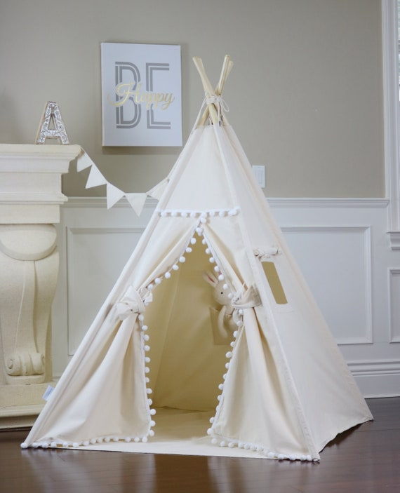 Natural Pom Pom Teepee Package With Floor, Window, Pocket,Poles,Led Light,Flags Banner, Storage Bag, Girls Room Decor by Etsy