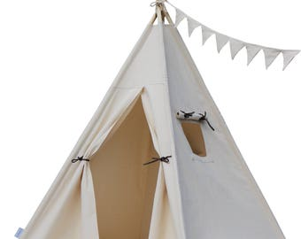 Organic Canvas Teepee with Poles,Floor,Pocket,Handbag,  Kids Teepee, Play Tent,Childrens Teepee,Teepee Tent, Tipi,Playhouse, Kids Room Decor