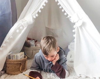 White Pompom Teepee Package with Poles, Floor, Window, Pocket, LED Light, Flags Banner and Storage bag, Tipi, Girls Room Decor