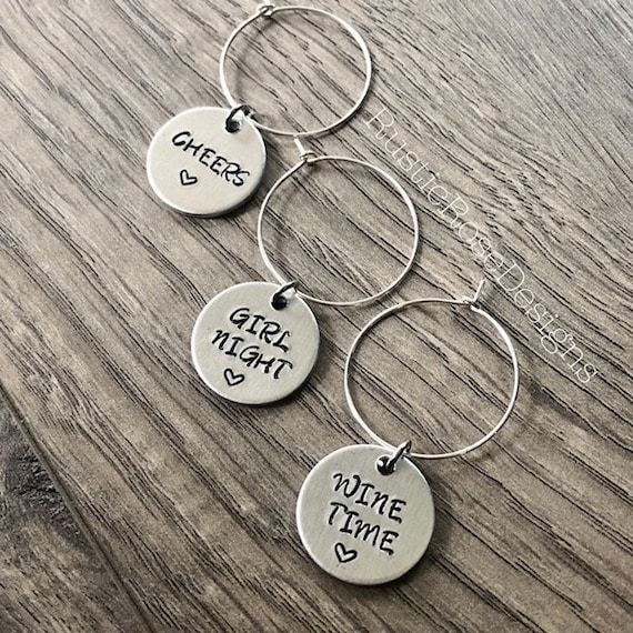 Wine is My Happy Place Wine Jewelry Wine Lovers Gifts for Women Personalized Wine Charm Keychain with Letter Charm