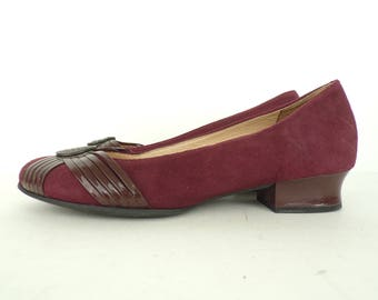 730265f7a53 Vintage Suede Low Heels Clarks Burgundy Leather Shoes