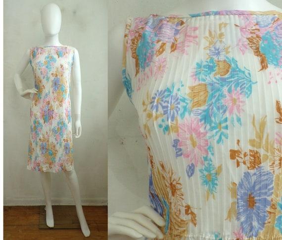 Vintage 1960s Pleated Dress, Vintage Colorful Flor