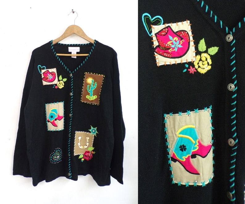 Vintage Western Cardigan Sweater 90s Embroidered Beaded Applique Cowgirl Sweater Button Down Embellished Rodeo Womens Jumper XL Extra Large