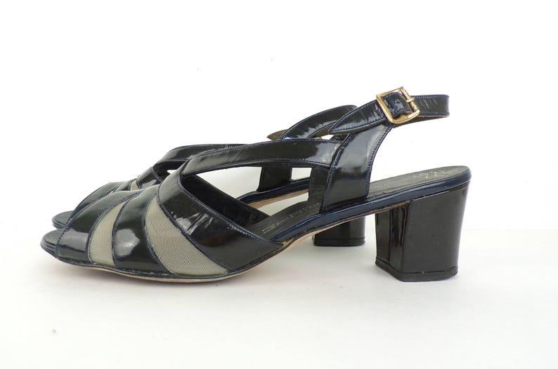 Vintage Faux Patent Leather Sandals 80s Black Florsheim Chunky Heel Shoes Size 8M Peep Toe Shoes Slingback Women/'s Wide Heel Sandals