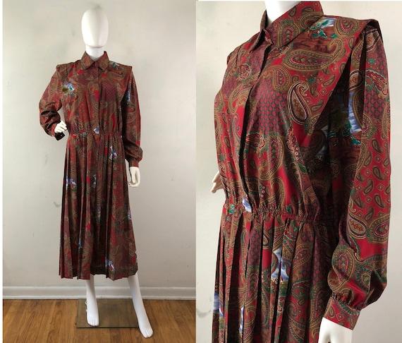 Vintage Equestrian Print Dress, 90s Schrader Eques