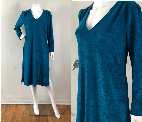Vintage Terry Cloth Dress , Deep Teal Coverup, Vin